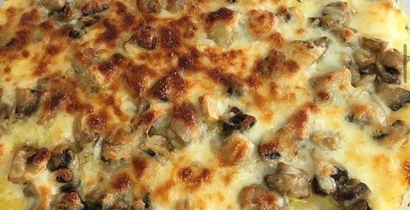 Fırında mantarlı kaşarlı patates