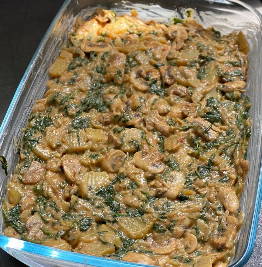 patatesli ıspanaklı ve mantarlı graten